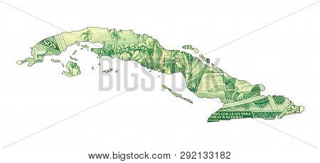 A Single 5 Cuban Peso Bank Note Reverse In Shape Of Cuba