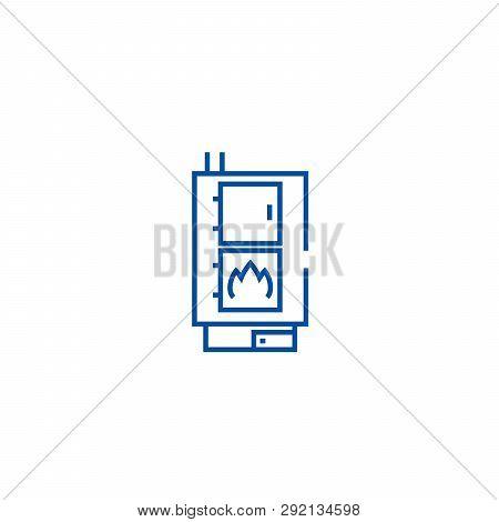 Solid Fuel Boiler, Pellet Stove Line Icon Concept. Solid Fuel Boiler, Pellet Stove Flat  Vector Symb