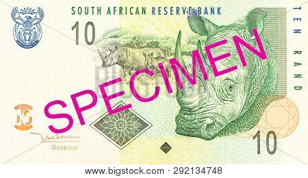 A Single 10 South African Rand Bank Note Obverse Specimen