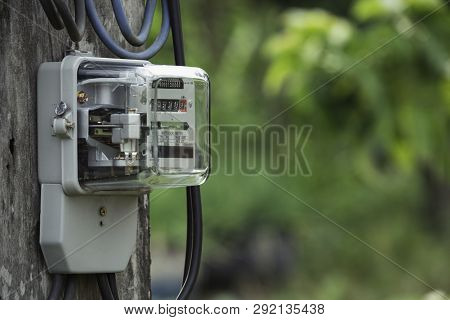 Electric Power Meter Measuring Power Usage. Watt Hour Electric Meter Measurement Tool With Copy Spac