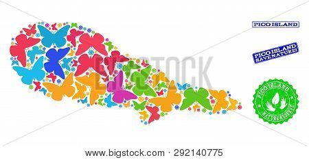 Eco Friendly Composition Of Bright Mosaic Map Of Pico Island And Rubber Seal Stamps With Nature Rese