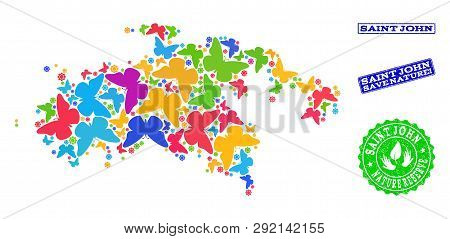 Ecological Combination Of Bright Mosaic Map Of Saint John Island And Grunge Stamps With Save Nature