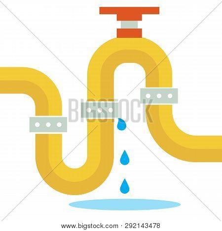 Pipeline Repair Leakage Emergency Water Leak Vector Illustration