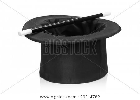 Top hat and a magic wand isolated against white background