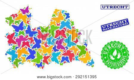 Ecological Composition Of Bright Mosaic Map Of Utrecht Province And Corroded Seals With Nature Reser