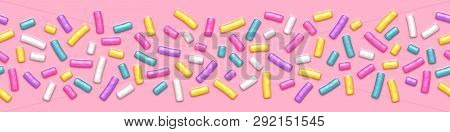 Seamless Wide Background With Many Decorative Sprinkles