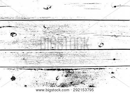 Vector Wood Texture. Abstract Background, Old Wooden Wall, Horizontal Planks. Overlay Illustration O