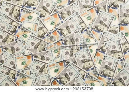 A Pile Of One Hundred Us Banknotes With President Portraits. Cash Of Hundred Dollar Bills, Dollar Ba