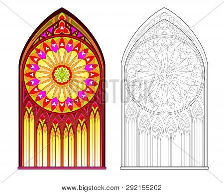 Colorful And Black And White Pattern Of Gothic Stained Glass Window With Beautiful Rose. Printable W