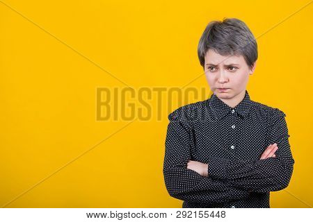 Portrait Of Displeased Upset Female Introvert Frowns Face, Being Discontent And Unhappy As Can`t Ach