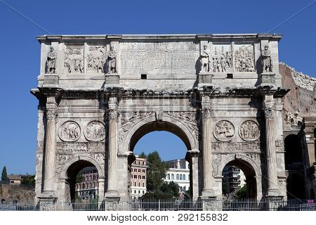 The Ancient Arch Of Constantine In Rome Italy