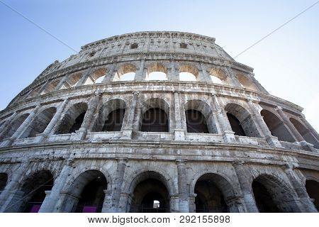 The Side Of The Colosseum In Rome Italy