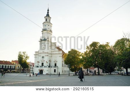 Kaunas, Lithuania - August 3, 2018: Town Hall Square At The Heart Of The Old Town, Kaunas, Lithuania