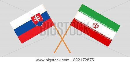 Slovakia And Iran. The Slovakian And Iranian Flags. Official Colors. Correct Proportion. Vector Illu