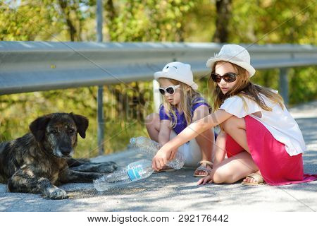 Thirsty Black Stray Dog Drinking Water From The Plastic Bottle On Hot Summer Day. Two Kids Giving Co