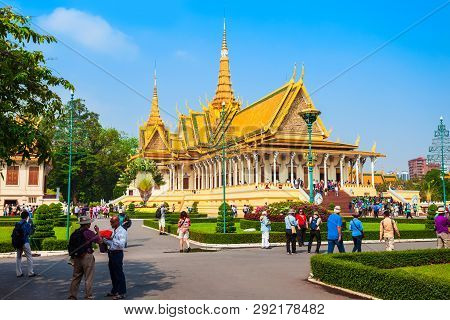 Phnom Penh, Cambodia - March 24, 2018: The Royal Palace Is The Royal Residence Of The King Of Cambod
