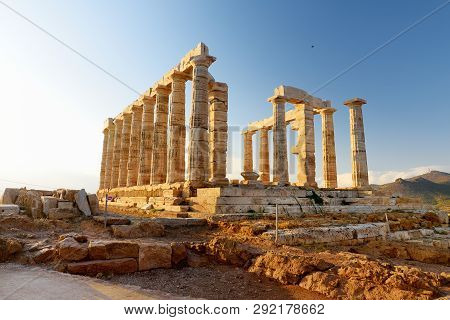 The Ancient Greek Temple Of Poseidon At Cape Sounion, One Of The Major Monuments Of The Golden Age O