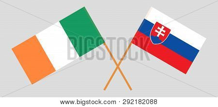 Slovakia And Ireland. The Slovakian And Irish Flags. Official Colors. Correct Proportion. Vector Ill