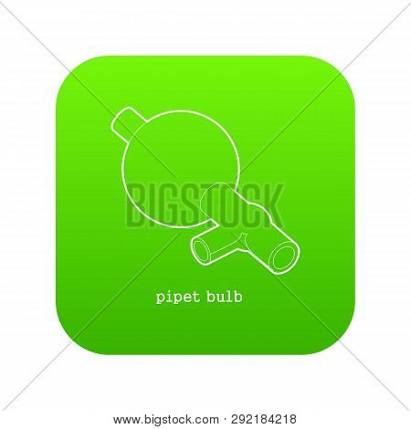 Pipet Bulb Icon Green Isolated On White Background
