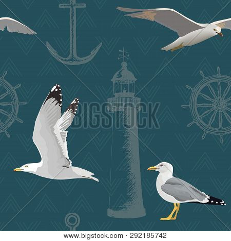 Naval Seamless Pattern. Hovering And Resting Gulls, Helm, Steering Wheel, Anchor, Light House. Ink P