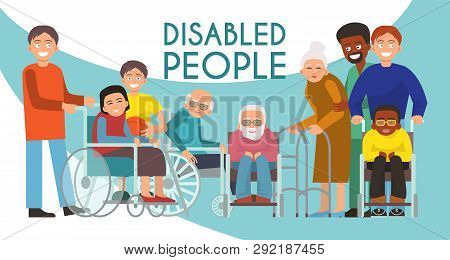 Disabled Peolple Active Life Banner Handicapped Children Old People In Wheelchair Vector Illustratio