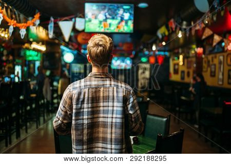 Football fan watching the match in sports bar