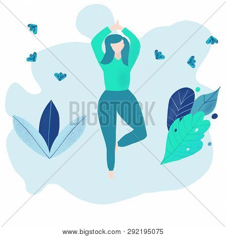 Oversized Women In A Yoga Pose With Blue Doodle Leaves . Modern Flat Style.