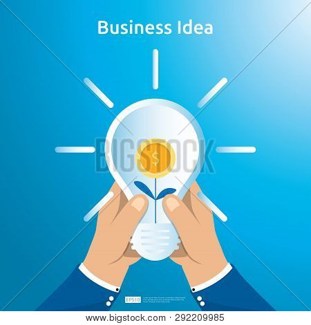 Buy And Sell Transaction Of Business Idea With Hand Hold Light Bulb Dollar Coin Bag And Growing Plan