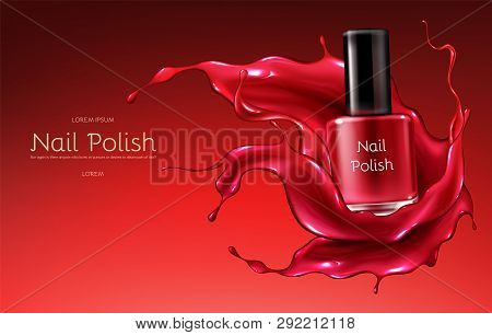 Red Nail Polish 3d Realistic Vector Advertising Banner With Glass Bottle In Glossy, Liquid Varnish E