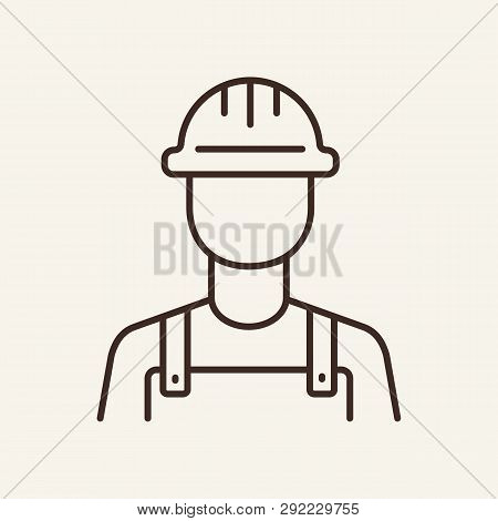 Builder Line Icon. Construction Worker, Technician, Miner. Foreman Concept. Can Be Used For Topics L