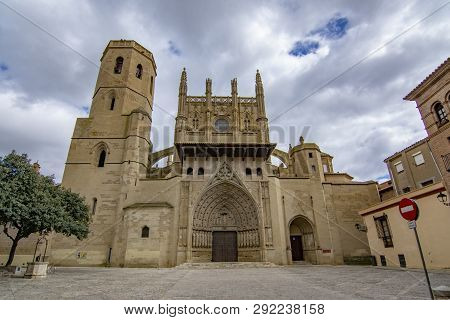 Huesca, Spain; March 2017: The Holy Cathedral Of The Transfiguration Of The Lord, Also Known As The