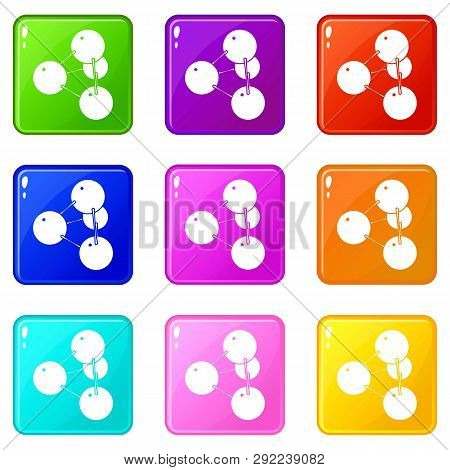 Pyramide molecule icons set 9 color collection isolated on white for any design poster
