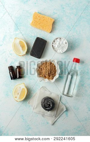 Zero Waste, Compostable Domestic Cleaning Tools. Metal Dish Brush, Cellulose Sponge, Rags, Soap, Lem