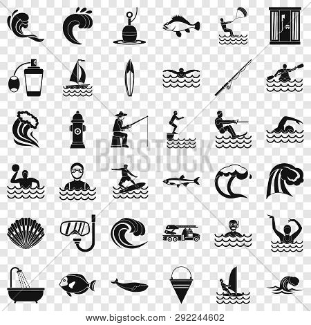 Water Wave Icons Set. Simple Style Of 36 Water Wave Vector Icons For Web For Any Design