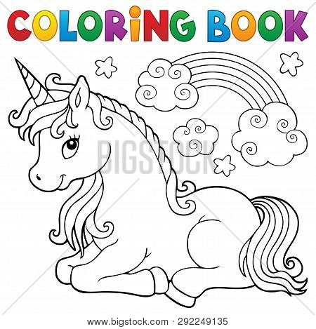Coloring Book Stylized Unicorn Theme 1 - Eps10 Vector Picture Illustration.