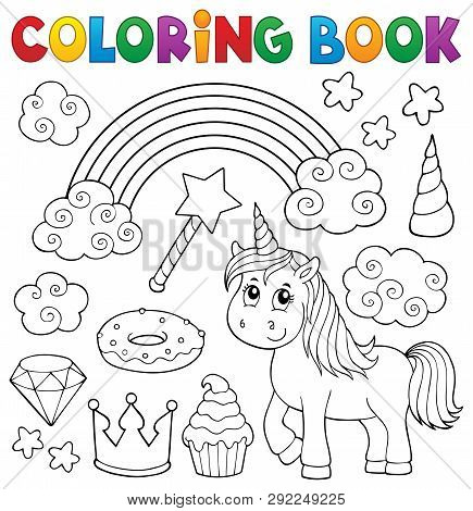 Coloring Book Unicorn And Objects 1 - Eps10 Vector Picture Illustration.