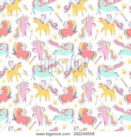 Seamless Pattern With Fairy Unicorns. Vector Illustration For Your Design