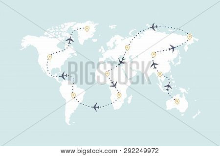 Airplane Route Line Vector & Photo (Free Trial) | Bigstock