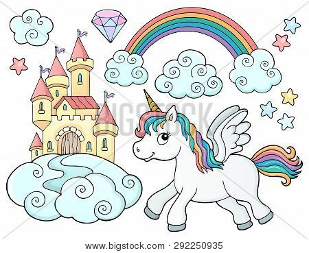 Unicorn And Objects Theme Image 2 - Eps10 Vector Picture Illustration.