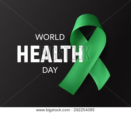 World Health Day Icon. Green Ribbon, Health Promotion, Medical Symbol. Healthcare Concept Design. Is