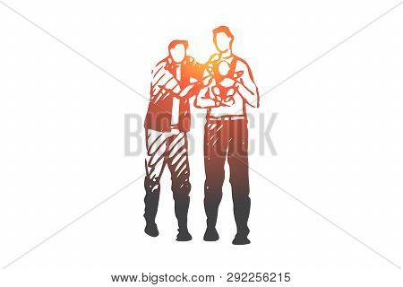 Lgbt, Male, Gay, Couple, Child Concept. Hand Drawn Family Couple Of Two Man With Child Concept Sketc