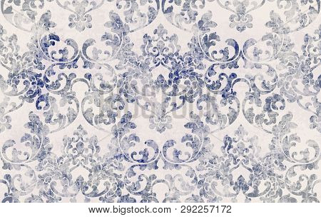 Rococo Texture Pattern Vector. Floral Ornament Decoration. Victorian Engraved Retro Design. Vintage