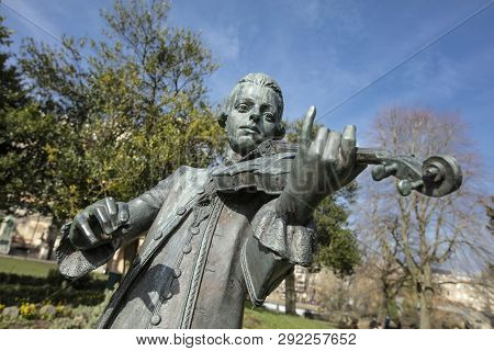 Bath, Somerset, United Kingdom, 22nd February 2019, Statue Of Wolfgang Amadeus Mozart In The Parade
