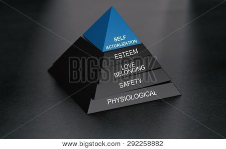 3d Illustration Of Hierarchy Of Needs With Self Actualization At The Top. Pyramid Over Black Backgro