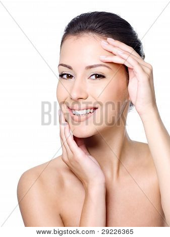 Happy Woman's Face With Healthy Skin