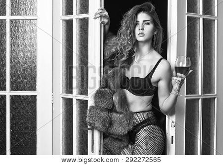 Girl Enter Bedroom Doors. Fashion Lady Enjoy Her Seductiveness. Woman Seductive Appearance. Confiden
