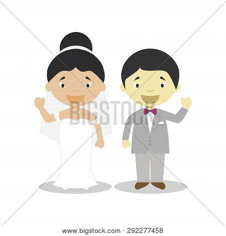 Oriental mestizo bride and oriental bridegroom Interracial newlywed couple in cartoon style Vector illustration poster