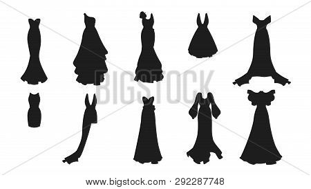 A Silhouette Set Of Different Dresses. Modern And Classic Style. Dresses For Prom, Gala Evening, Wed