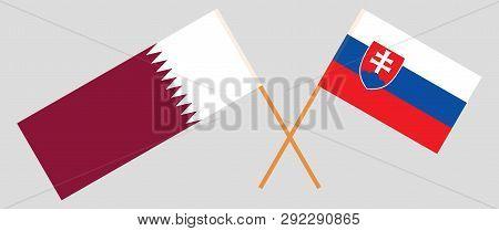 Slovakia And Qatar. The Slovakian And Qatari Flags. Official Colors. Correct Proportion. Vector Illu