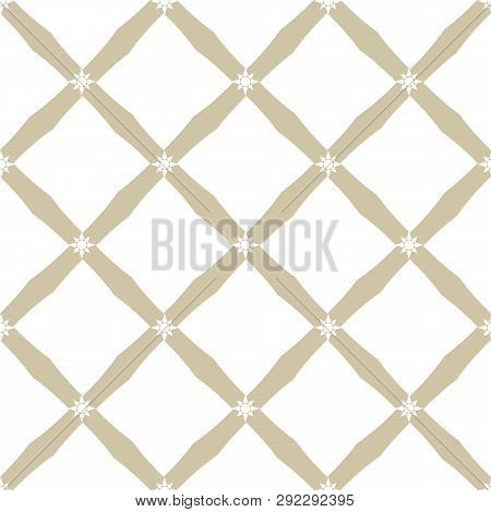 Golden Grid Pattern. Vector Abstract Geometric Seamless Texture With Square Mesh, Net, Lattice, Diag